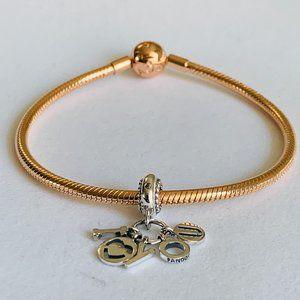 Pandora Rose Gold Bracelet & Silver I Love You